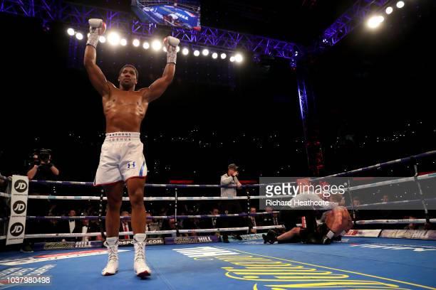 Anthony Joshua celebrates victory over Alexander Povetkin during the IBF WBA Super WBO IBO World Heavyweight Championship title fight between Anthony...