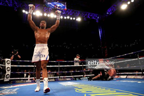 Anthony Joshua celebrates victory over Alexander Povetkin during the IBF WBA Super WBO IBO World Heavyweight Championship title fight between Anthony...