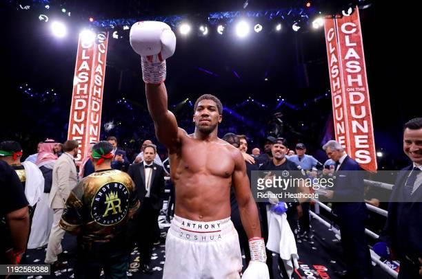 Anthony Joshua celebrates victory over Andy Ruiz Jr during the IBF WBA WBO IBO World Heavyweight Title Fight between Andy Ruiz Jr and Anthony Joshua...