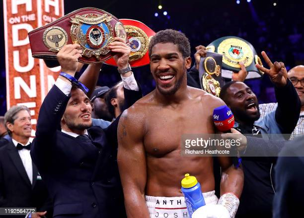 Anthony Joshua celebrates victory over Andy Ruiz Jr during the IBF WBA WBO IBO World Heavyweight Title Fight between Andy Ruiz Jr and Anthony Joshua...