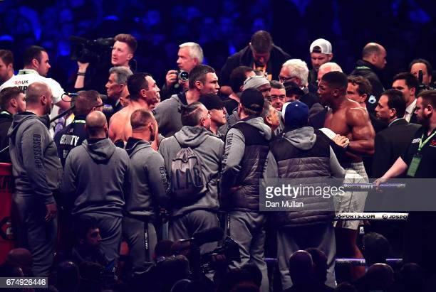 Anthony Joshua clashes with Vitali Klitscko after Anthony Joshua beats Wladimir Klitschko in the IBF WBA and IBO Heavyweight World Title bout at...