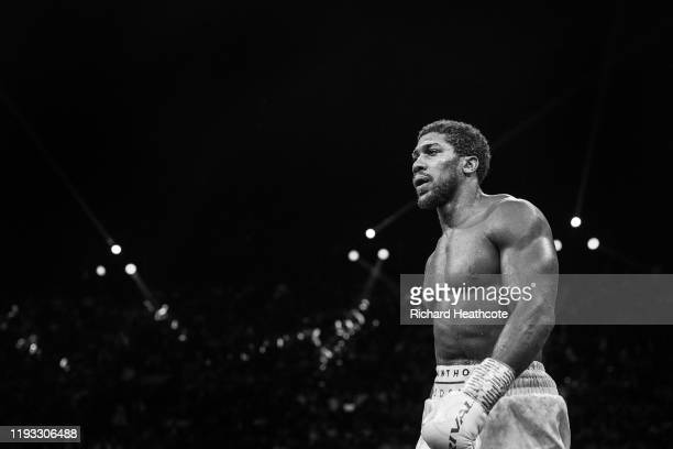 Anthony Joshua during the IBF, WBA, WBO & IBO World Heavyweight Title Fight during the Matchroom Boxing 'Clash on the Dunes' show at the Diriyah...