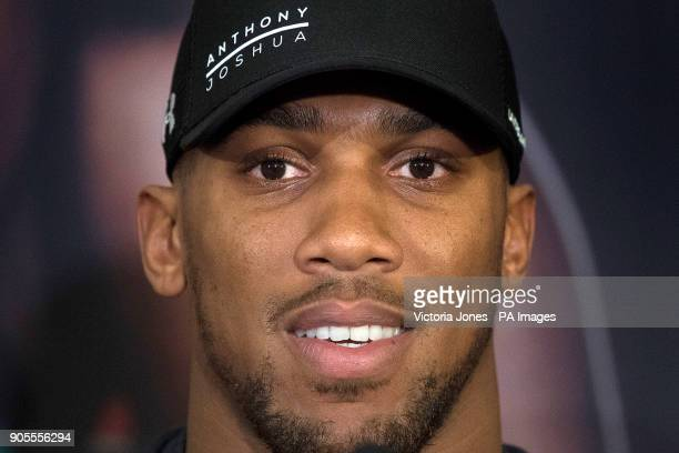 Anthony Joshua during the press conference at the Dorchester Hotel London