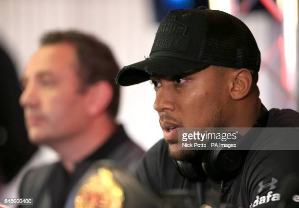 Anthony Joshua during the press conference at the Principality Stadium Cardiff