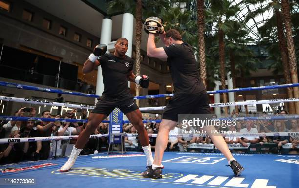Anthony Joshua during the public workout at the Brookfield Place New York