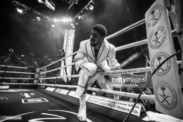 Anthony Joshua enters the ring during the IBF, WBA, WBO & IBO World Heavyweight Title Fight between Andy Ruiz Jr and Anthony Joshua during the...