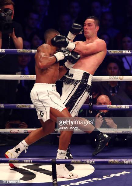 Anthony Joshua fights Joseph Parker during there WBA IBF WBO IBO Heavyweight Championship title fight at Principality Stadium on March 31 2018 in...