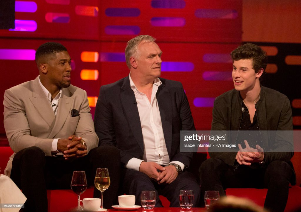 Greg davis pictures and photos getty images anthony joshua greg davies and shawn mendes during filming of the graham norton show at the thecheapjerseys Image collections