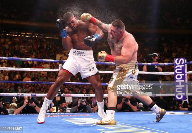 Anthony Joshua in action against Andy Ruiz Jr in the WBA IBF WBO and IBO Heavyweight World Championships title fight at Madison Square Garden New York