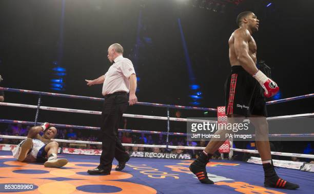 Anthony Joshua in action against Hector Avila during their Heavyweight bout at the SECC Glasgow