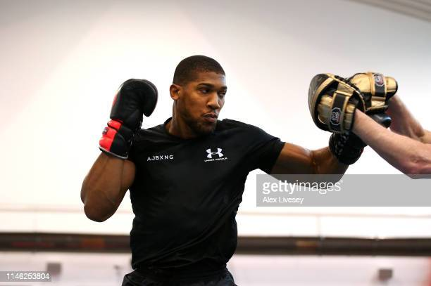 Anthony Joshua in action during a training session during the Anthony Joshua Media Day at the English Institute of Sport on May 01 2019 in Sheffield...
