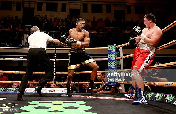 Anthony Joshua in action with Hrvoije Kisicek during their Heavyweight bout at York Hall on November 14, 2013 in London, England.
