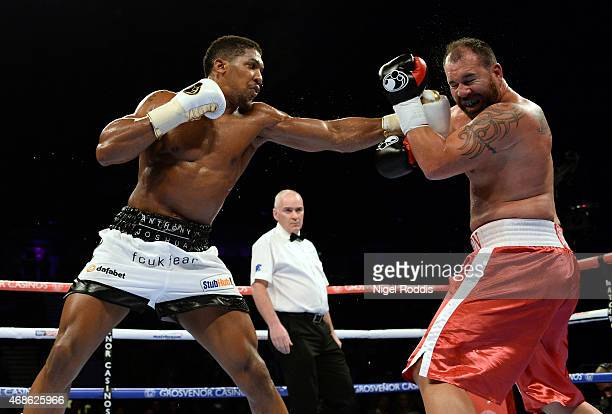 Anthony Joshua in action with Jason Gavern during their Heavyweight boxing contest at the Metro Arena on April 4 2015 in Newcastle upon Tyne England