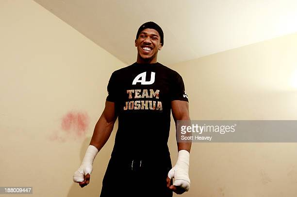 Anthony Joshua in the changing room prior to his Heavyweight bout with Hrvoije Kisicek at York Hall on November 14 2013 in London England