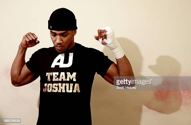 Anthony Joshua in the changing room prior to his Heavyweight bout with Hrvoije Kisicek at York Hall on November 14, 2013 in London, England.