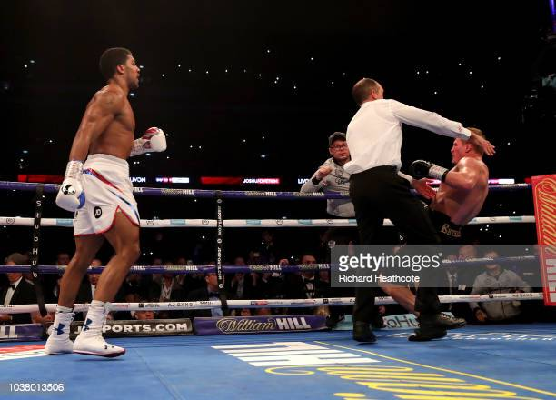 Anthony Joshua knocks out Alexander Povetkin during the IBF WBA Super WBO IBO World Heavyweight Championship title fight between Anthony Joshua and...