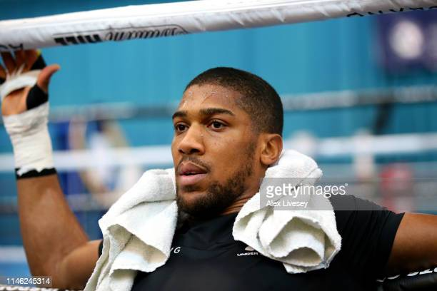 Anthony Joshua looks on after a training session during the Anthony Joshua Media Day at the English Institute of Sport on May 01 2019 in Sheffield...