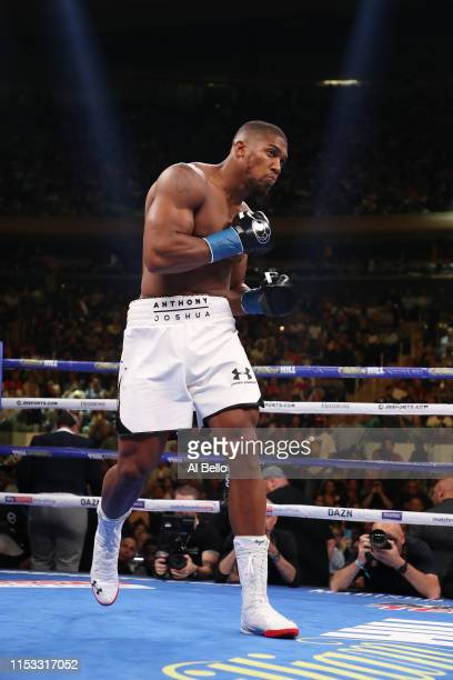 Anthony Joshua looks on before his fight against Andy Ruiz Jr during their IBF/WBA/WBO heavyweight title fight at Madison Square Garden on June 01...