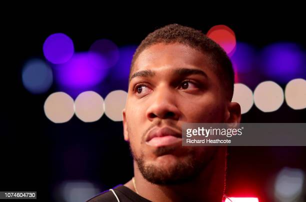 Anthony Joshua looks on during the Boxing at The O2 Arena on December 22 2018 in London England