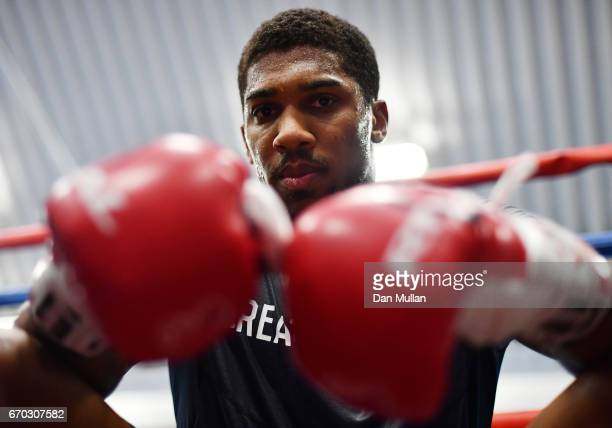 Anthony Joshua looks on during the media workout at EIS Sheffield on April 19 2017 in Sheffield England