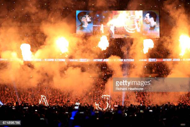 Anthony Joshua makes his entrance prior to his fight against Wladimir Klitschko for the IBF WBA and IBO Heavyweight World Title bout at Wembley...