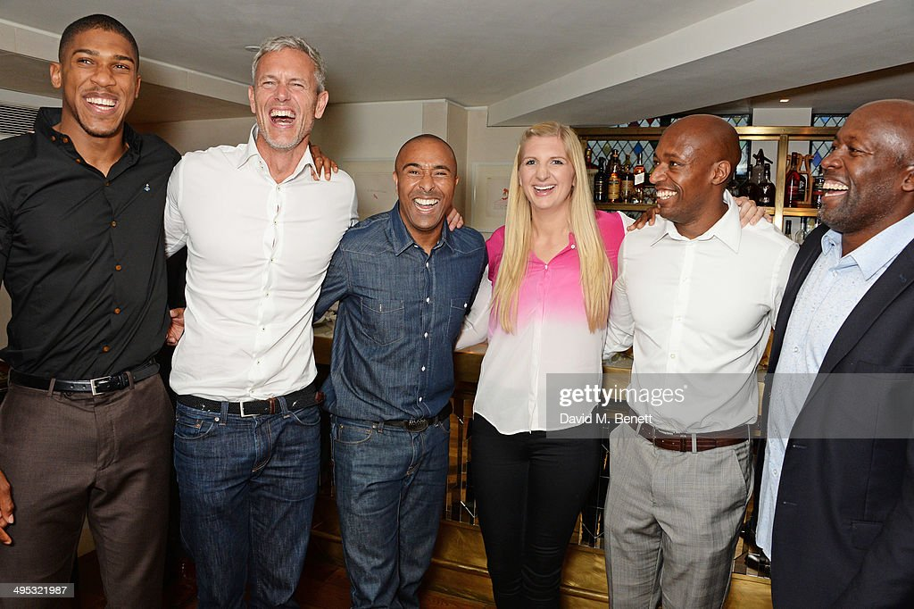 Anthony Joshua, Mark Foster, Colin Jackson, Rebecca Adlington, Marlon Devonish and John Regis attend an Olympian Sports Quiz night hosted by Colin Jackson in aid of his new charity venture 'Go Dad Run' for Prostate Cancer UK at The Club at The Ivy on June 2, 2014 in London, England.