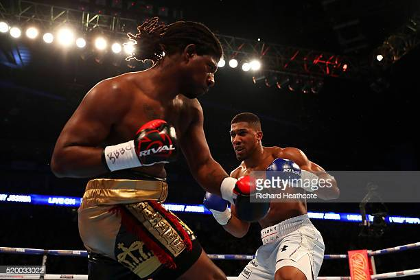 Anthony Joshua of England and Charles Martin of the United States in action during the IBF World Heavyweight title fight at The O2 Arena on April 9...