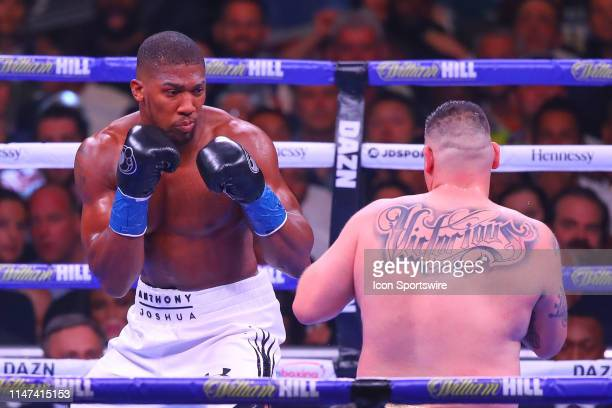 Anthony Joshua of England battles Andy Ruiz Jr during the first round of the World Heavyweight Championship fight on June 1 2019 at Madison Square...