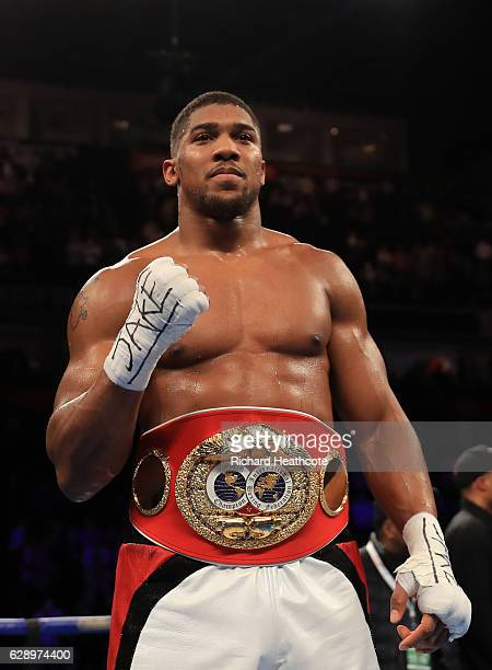 Anthony Joshua of England celebrates his victory over Eric Molina of the United States during their IBF World Heavyweight Championship fight at...