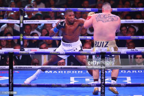 Anthony Joshua of England hits Andy Ruiz Jr during the first round of the World Heavyweight Championship fight on June 1 2019 at Madison Square...