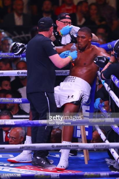 Anthony Joshua of England in his corner in between the first and second rounds of the World Heavyweight Championship fight on June 1 2019 at Madison...