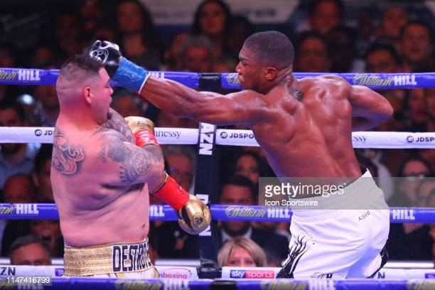 Anthony Joshua of England punches Andy Ruiz Jr of California during the World Heavyweight Championship fight on June 1 2019 at Madison Square Garden...