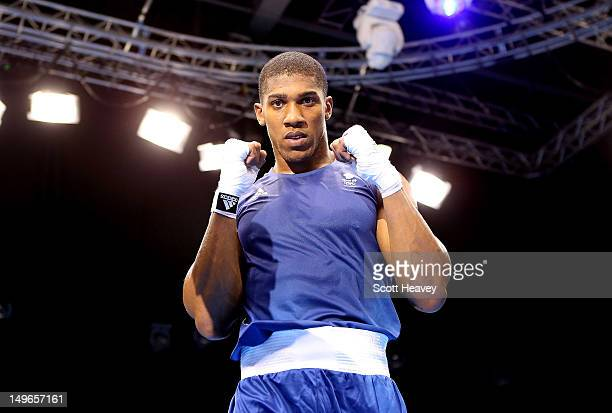 Anthony Joshua of Great Britain celebrates his victory over Erislandy Savon Cotilla of Cuba during the Men's Super Heavy Boxing on Day 5 of the...