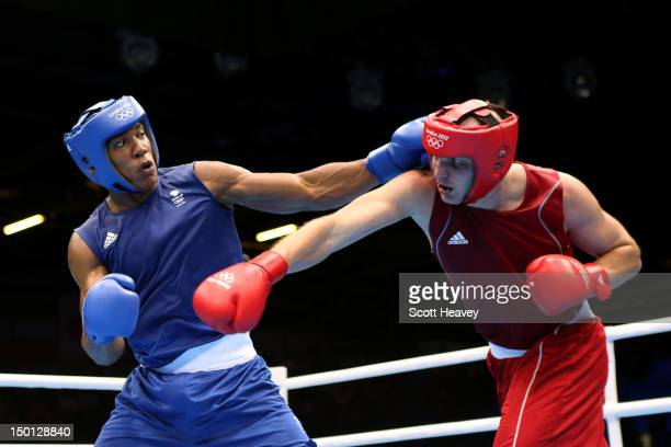 Anthony Joshua of Great Britain competes against Ivan Dychko of Kazakhstan during their Men's Super Heavy Boxing semifinal bout on Day 14 of the...