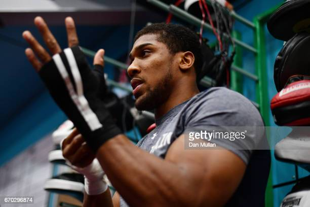 Anthony Joshua prepares to train during the media workout at EIS Sheffield on April 19 2017 in Sheffield England