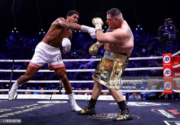 Anthony Joshua punches Andy Ruiz Jr during the IBF WBA WBO IBO World Heavyweight Title Fight between Andy Ruiz Jr and Anthony Joshua during the...