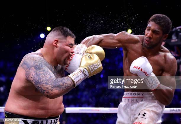 Anthony Joshua punches Andy Ruiz Jr during the IBF, WBA, WBO & IBO World Heavyweight Title Fight between Andy Ruiz Jr and Anthony Joshua during the...