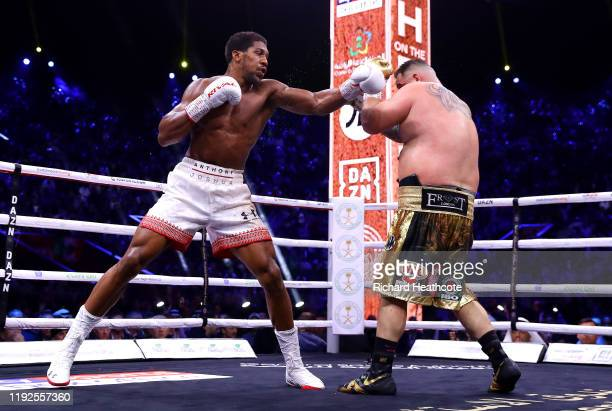 Anthony Joshua punches Andy Ruiz Jr during the IBF, WBA, WBO & IBO World Heavyweight Title Fight between Andy Ruiz Jr and Anthony Joshua during the...