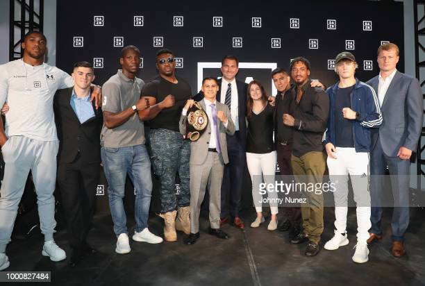 Matchroom fighters Anthony Joshua and Alexander Povetkin onstage at the US launch of DAZN The Future of Sports Streaming at Industria Studios on July...