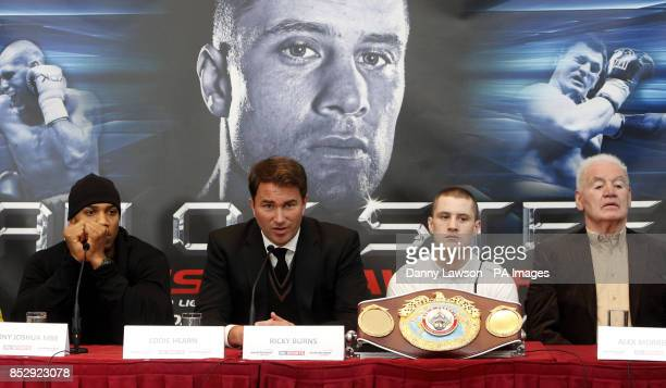 Anthony Joshua Ricky Burns Promoter Eddie Hearn and Promoter Alex Morrison during a press conference at the City Halls in Glasgow