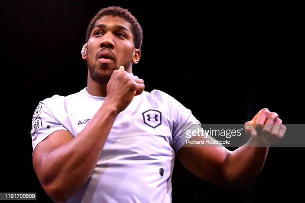 Anthony Joshua shadow boxes ahead of the IBF WBA WBO IBO World Heavyweight Title Fight between Andy Ruiz Jr and Anthony Joshua during the Clash On...