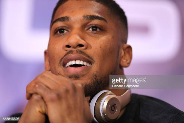 Anthony Joshua speaks during a press conference for his Super Heavyweight title fight against Wladamir Klitschko at Sky Sports Studios on April 27...