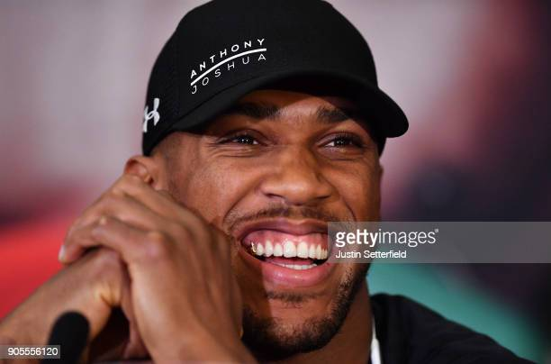 Anthony Joshua speaks during an Anthony Joshua and Joseph Parker Press Conference at the Dorchester Hotel on January 16 2018 in London England