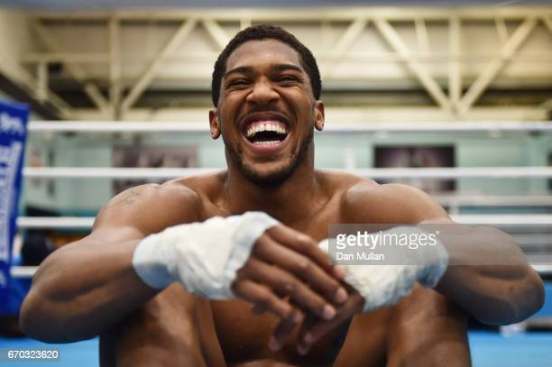 Anthony Joshua takes a break during the media workout at EIS Sheffield on April 19 2017 in Sheffield England