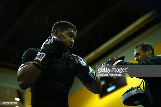 Anthony Joshua takes part in a media workout session at the Reebok Sports Club on December 7 2015 in London England