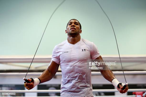 Anthony Joshua trains during a media workout at the English Institute of Sport on March 21 2018 in Sheffield England
