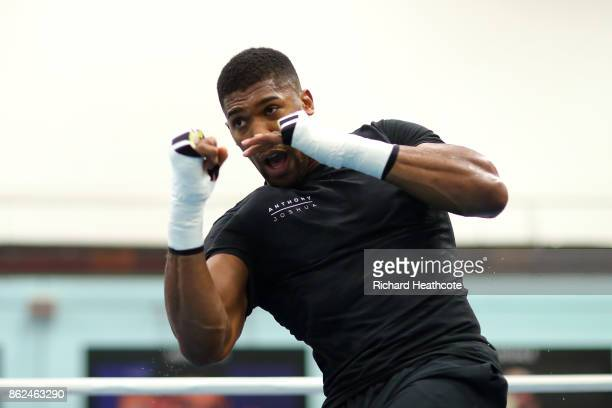 Anthony Joshua trains during a media workout on October 17 2017 in Sheffield England