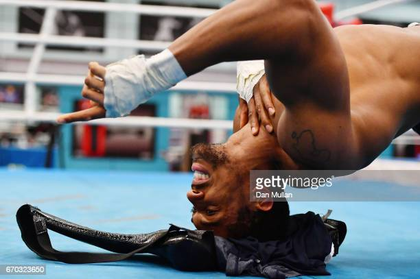 Anthony Joshua trains during the media workout at EIS Sheffield on April 19 2017 in Sheffield England