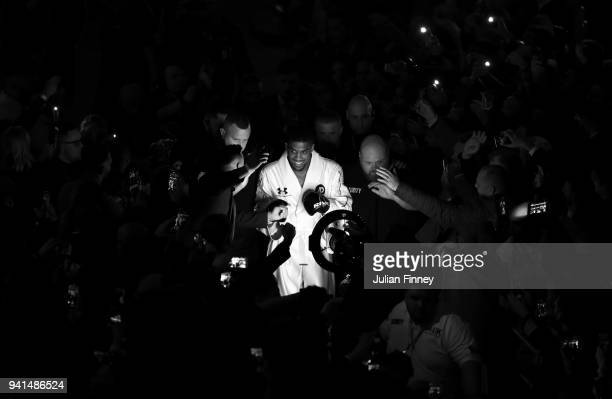 Anthony Joshua walks out to fight Joseph Parker during there WBA IBF WBO IBO Heavyweight Championship title fight at Principality Stadium on March 31...