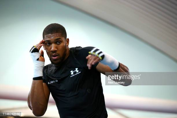 Anthony Joshua warms up during a training session during the Anthony Joshua Media Day at the English Institute of Sport on May 01 2019 in Sheffield...